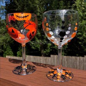 Hand Painted/Jeweled Wine glass Set